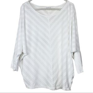 Velvet by G&S White Striped Batwing Top Size Small